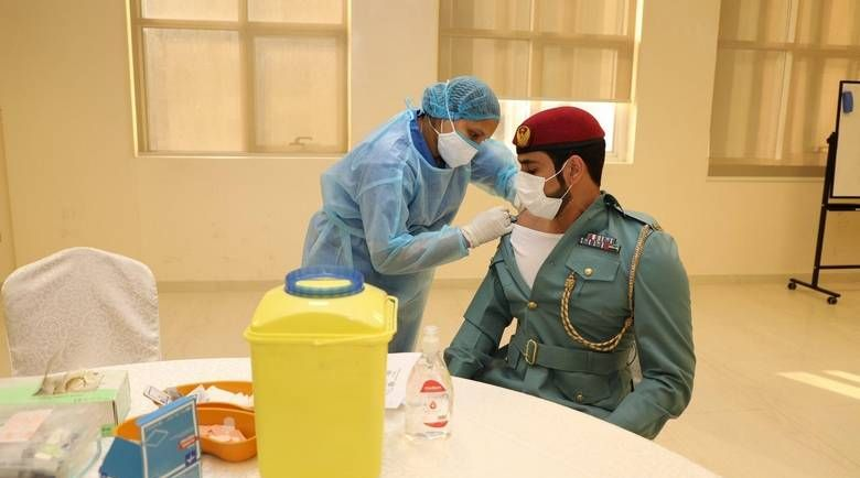 Ajman firefighters receive second dose of Covid-19 vaccine